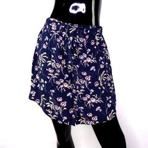 LOFT Navy Floral Button Front Skirt with Pockets